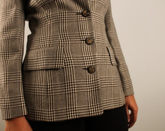 Vintage plaid blazer brown black and beige spring / fall jacket  1990 90s button front blazer