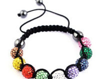 Multicolored Shamballa Style Bracelet
