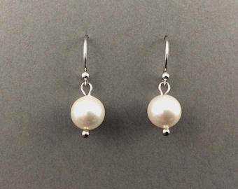 Pearl Earings With White Swarovski Crystal Pearls