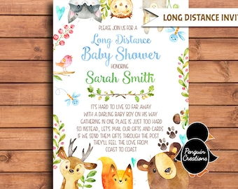 Long Distance Baby Shower Invitation. Woodland Baby Shower. Woodland Baby Boy