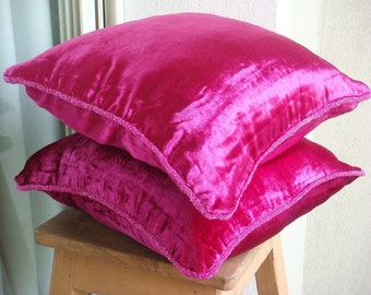 Decorative Throw Pillow Covers Accent Pillow Couch Pillow Bed Sofa Pillows 20x20 Fuchsia Velvet Pillow Case with Bead Cord - Fuchsia Love