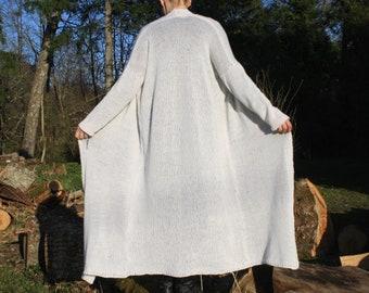 loose knit sweater, white cardigan, Airy, soft, light, Long Sleeve Cardigan, spring, summer, autumn, alpaca yarn