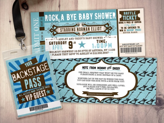 Rock star concert ticket baby shower invitation coed baby filmwisefo Image collections