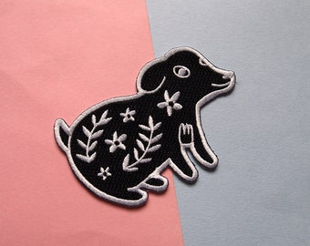 Floral Dog Iron on patch - sew on patch - dog embroidered patch - dog iron on patch - I like cats - Floral Pup - dog gift - dog accessories