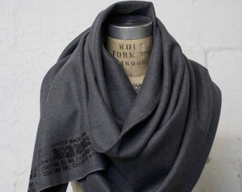 Gray Wool Scarf Men's Printed Shawl Women's Scarves,  Wool Wraps , Gifts for her