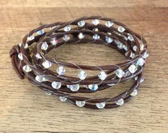 Leather Boho Bling Bracelet