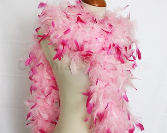 Baby Pink w/ Hot Pink tips 65 Gram Chandelle Feather Boa 6 Feet Long Dancing Wedding Crafting Party  Halloween Costume Decoration. 8F22