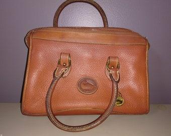 Vintage Dooney & Bourke Cognac Brown Tan Leather Satchel