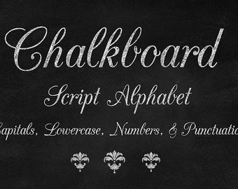 Clip Art, NOT A FONT Chalkboard Script Alphabet - Chalk Style Letters, Numbers and Punctuation Clipart Set digital instant download