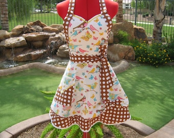 Sassy  Sweetheart Women  Apron - Scarlet Chic  - Retro Pin Up - Birds of a Feather  - Brown Polka dot