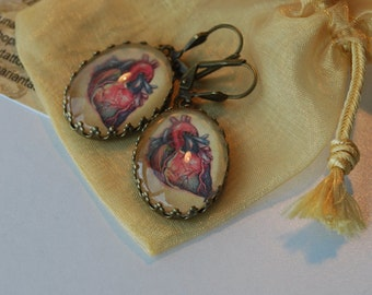 You Have My Heart,  Heart Earrings, Tattooed Heart Jewelry, Anatomical Heart, Valentines Gift, Love Gift for Someone Special
