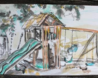 "Playground: Original 4x6"" Watercolor Sketch"