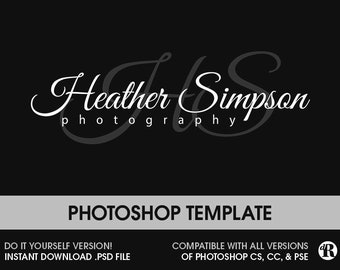 DIY Photoshop Watermark, Photography Logo Instant Download Photoshop Template PSD Logo Calligraphy Logo Signature Logo Photography Template