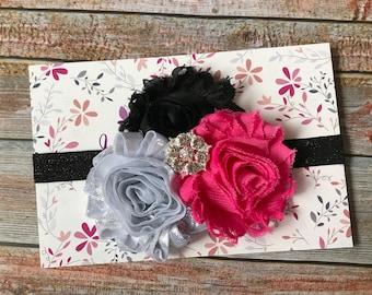 Hot Pink & Black Headband, Baby Headband, Hot Pink Headband, Newborn Headband, Toddler Headband, Girl Headband, Infant Headband, Headband