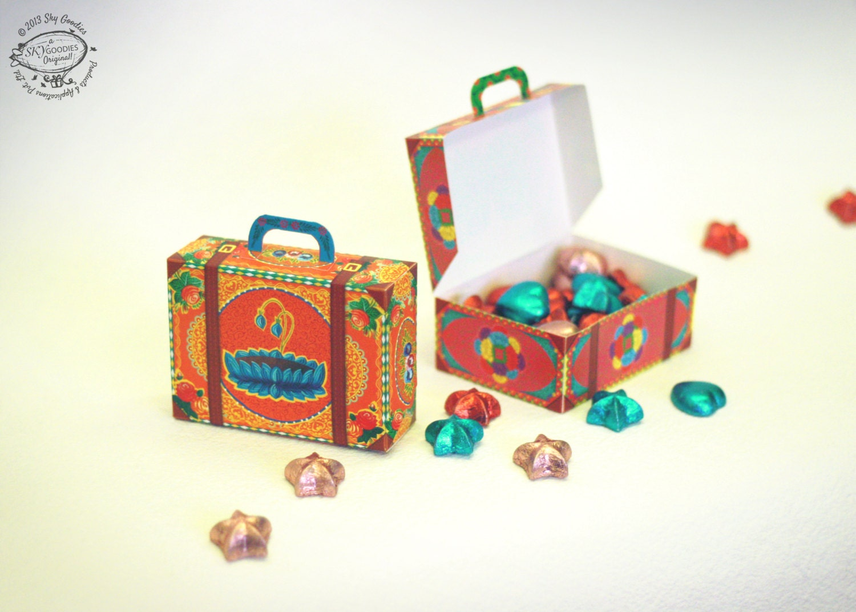 Diy paper gift box favor box colorful mini suitcases set zoom solutioingenieria Images