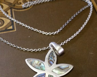 Hallmarked Star Abalone Sterling Silver 925 Necklace