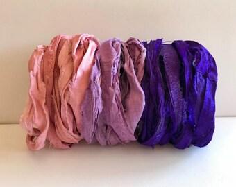 Sari Silk Ribbon-Recycled Pink, Orchid, Purple Sari Ribbon-9 Yards