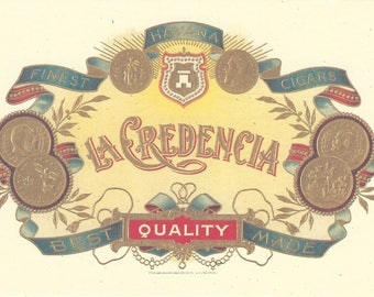 Vintage Cigar Postcard, La Credencia Collectable Label Postcard to Mail, Frame or for Collage, Paper Arts and Scrapbooking PSS 3440