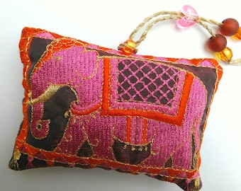 ELEPHANT, embroidered, lavender bag, scented, gift, pink, gold, bright and colourful.