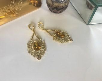 Gold Chandelier Crystal Earrings