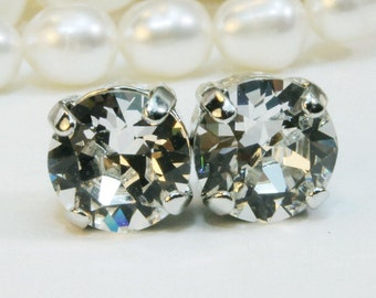 Clear Crystal Studs Clear Swarovski Earrings White Crystal 8mmClear stud clear post earring,Clear bridesmaids gift ,Silver,Crystal clear SE1