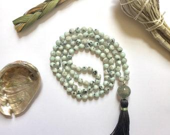 Meditation Beads, Buddhist Prayer Beads, Mala Beads 108, Mala Beads for balance, Mala beads for courage, Japa Mala, Kiwi Jasper Mala Beads,