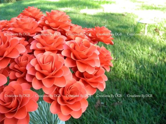 Wedding paper flowers stemmed dark coral paper flowers 25 mightylinksfo