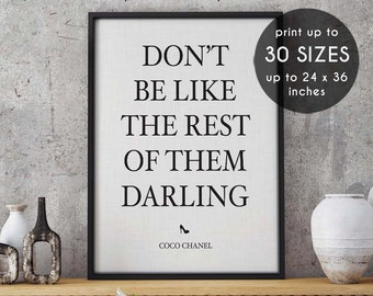 coco chanel print, don't be like the rest of them, wall art, chanel poster, fashion poster, coco chanel quote, fashion, chanel print, 17