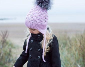 Toddler pom pom hat, cable knit baby toddler alpaca  kids knit hats, baby hat with fur pom pom, kids fur pom pom hat, fur toque beanie