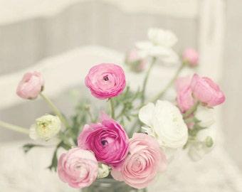 Flower photography pink white ranunculus flowers french flower photography pink white ranunculus flowers french flowers nature fine art photography print pink white home decor mightylinksfo