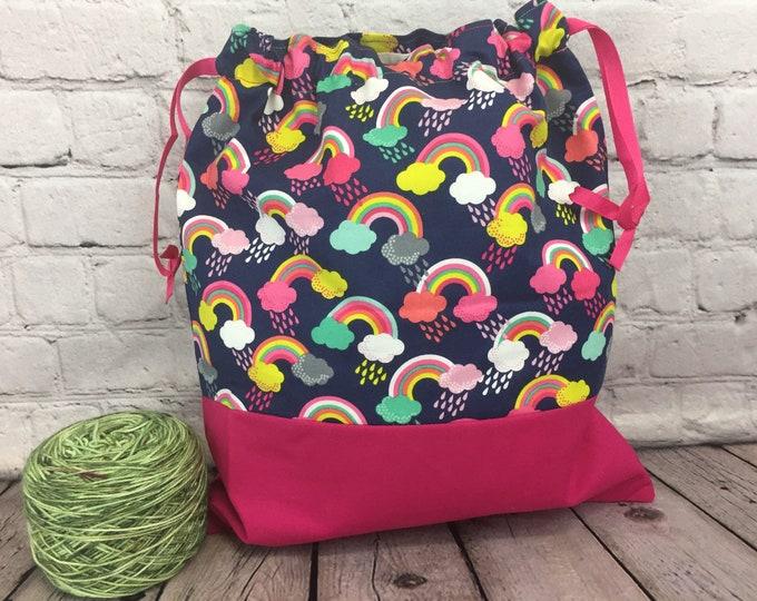 Rainbows Knitting bag, Drawstring project bag, Crochet Bag, Yarn Bag,  Project Bag, Sock knitting bag