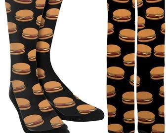 Hamburger Socks - Crazy Socks - Mens Novelty Socks -Socks for Men -Socks for Women -BBQ Socks  Cool Socks -Socks for Boys -FREE Shipping B87