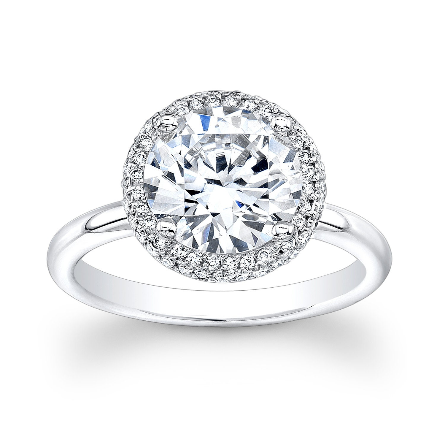 rings ring white engagement with diamond in pave and shank gold halo bezel round plain flat