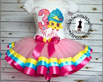 Shopkins cupcake Appliqué Ribbon Trimmed Tutu Birthday outfit