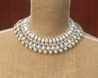 Faux pearl and AB glass bead choker