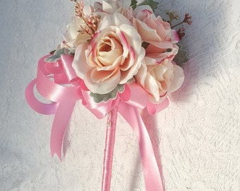 Flower Girl Floral Wand -  Pink Rosebud Wand for Flowergirl, Wedding Flowers for Flowergirl