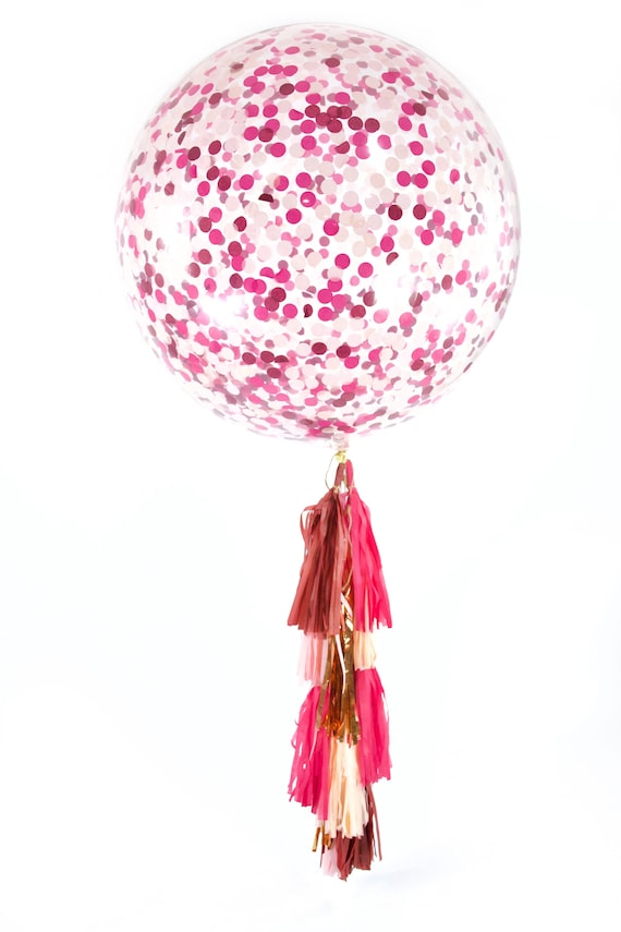 "36"" Pretty N' Pink Balloon, Giant Clear Balloon, Confetti Balloon, Tassel Balloon, First Birthday Wedding Bridal Shower Baby Valentine Decor"