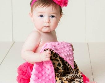 Leopard Minky Newborn Baby Lovey Blanket, Modern Baby, Security Blanket, Newborn Gift, Security Blanket, Stroller Blanket, Travel Lovey