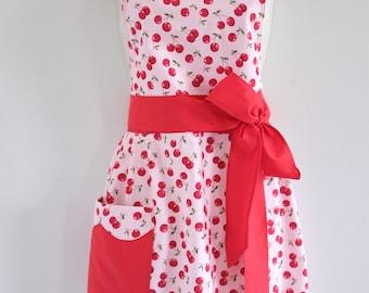 Pretty in Pink Cherries / Apron for women / womens aprons / cherry apron / retro apron / Mother's Day apron / vintage style apron / rockabil
