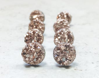 Set of 5 Rose Gold Bridesmaids Earrings, Jewelry with Gift Boxes, Tiny Rose Gold Faux Druzy Earrings, Small  8mm Round Studs Wedding Jewelry