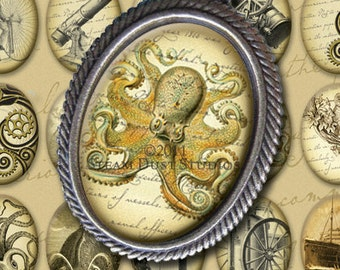Hard-to-Find Victorian Steampunk 30 x 40mm Cameo-Size Ovals Kraken, Airships, etc. - Digital Collage Sheet - Instant Download and Print