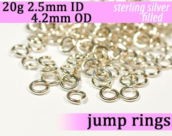 20g 2.5 mm ID 4.2 mm OD silver filled jump rings -- 20g2.50 jumprings