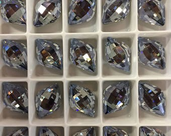 Pair Swarovski Crystal Lemon Fancy Stone 4230 Mystique Light Blue Rare Custom Coated 14x9 Small Ultra Faceted Chessboard Baby Periwinkle