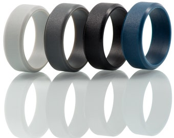 3x Mens Silicone Wedding Bands - Customizable 3 Pack Beveled Edge Silicone Rings Thin Beveled Comfortable Durable Safe Rubber Wedding Bands