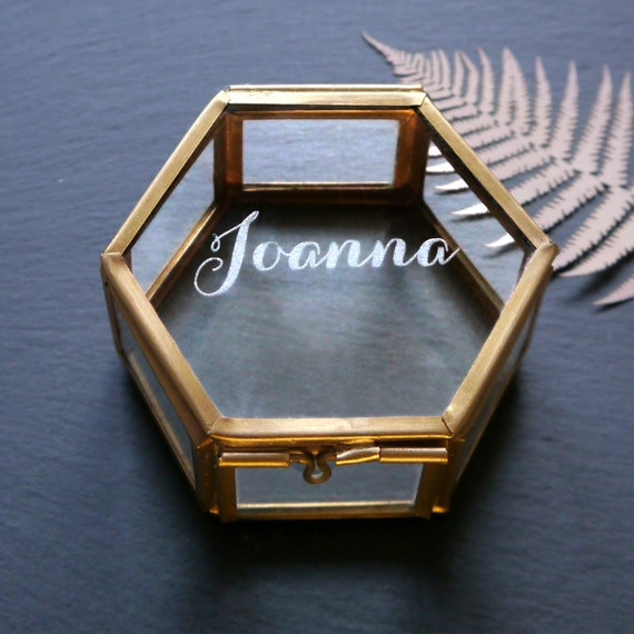 Glass Jewellery Box Hexagon Jewelry Box Glass Box With Name