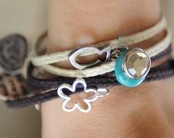 LUCK JEWELRY kabbala wrap bracelet vanilla brown fertility cameo lucky charms hamsa talisman by RedBracelet on Etsy