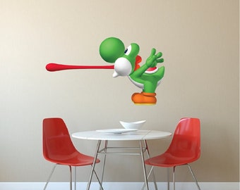 Yoshi Vinyl Wall Decal, Mario Decals Stickers, Laptop Decal Stickers, Nintendo Wall Decal, Removable Art Decals, Video Game Wall Design, n75