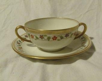 Double Handle Teacup And Saucer Bawo & Dotter Elite Works Limoges France Fine Porcelain Art Nouveau Floral Vine Gold Trim 1920s