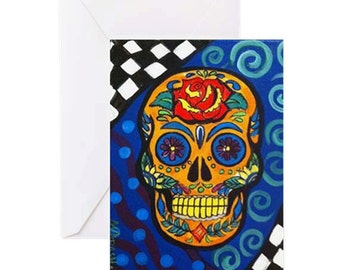 Sugar Skull #1 - 4 Greeting Cards By Artist A.V.Apostle
