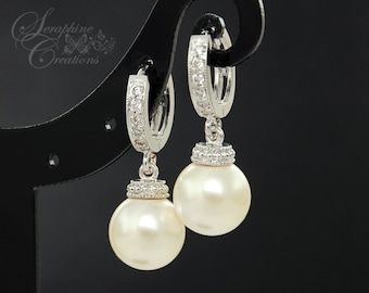 Wedding Earrings Bridal Jewelry Swarovski Pearls Cubic Zirconia Drop Bridesmaid Gift White Ivory/Cream Round Dangle K039